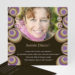 Carte invitation anniversaire adulte Bulles Disco