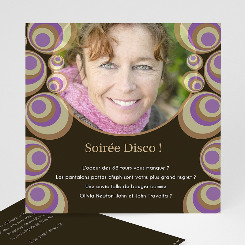 Carte invitation anniversaire adulte Bulles Disco