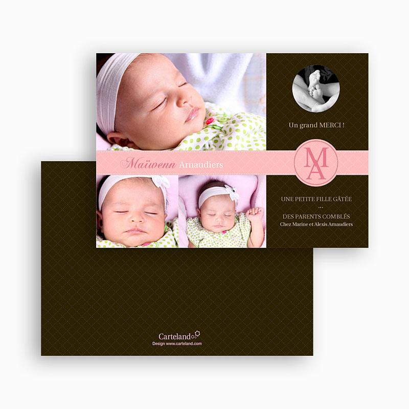 Carte remerciement naissance fille c'était parfait  gratuit
