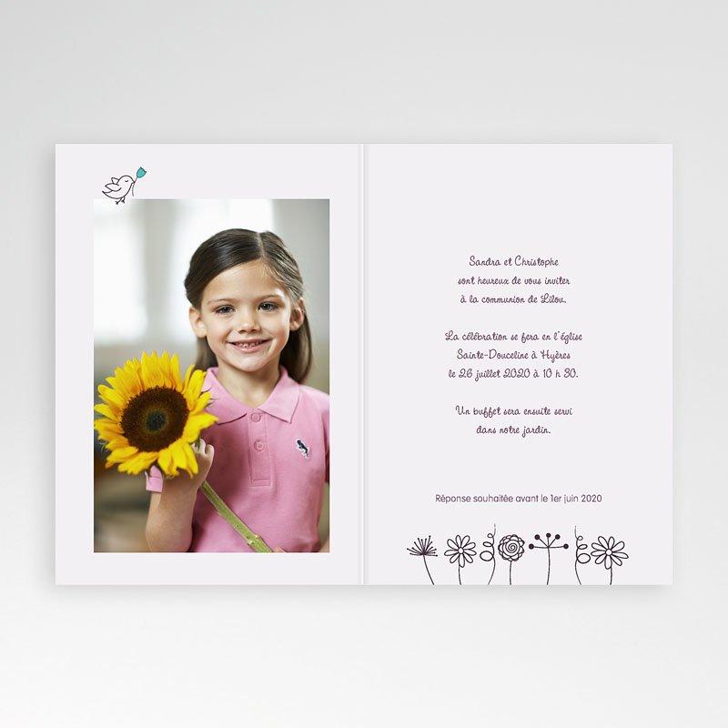 Faire-Part Communion Fille Florale pas cher