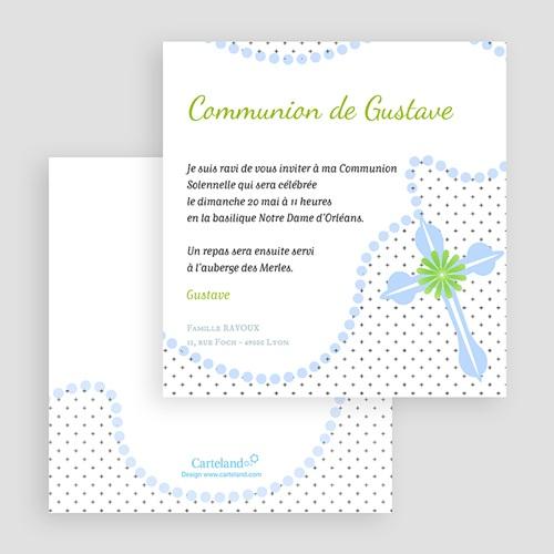 Faire-part Communion Garçon - Rosaire Bleu 19544 preview