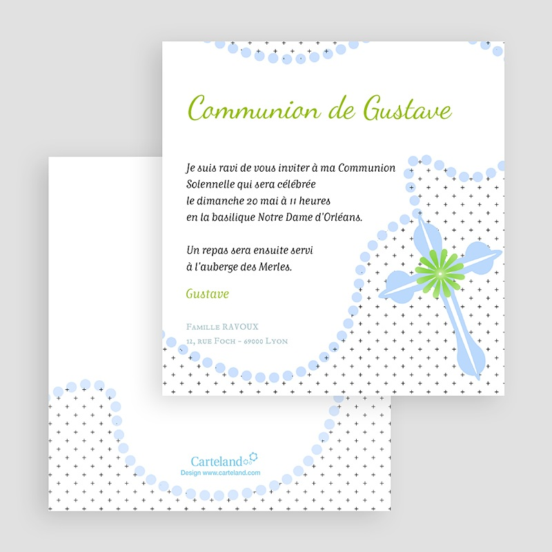 Faire-Part Communion Garçon Rosaire Bleu gratuit