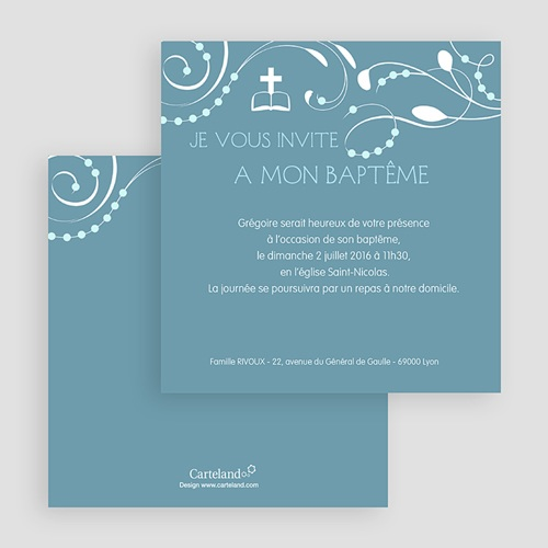 Faire-part Baptême Garçon - Sanctus Bleu 19545 thumb