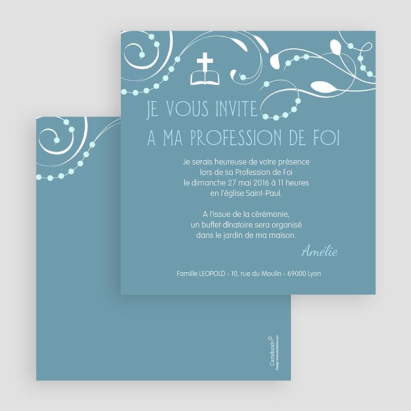 Faire-Part Communion Fille Sanctus Bleu gratuit