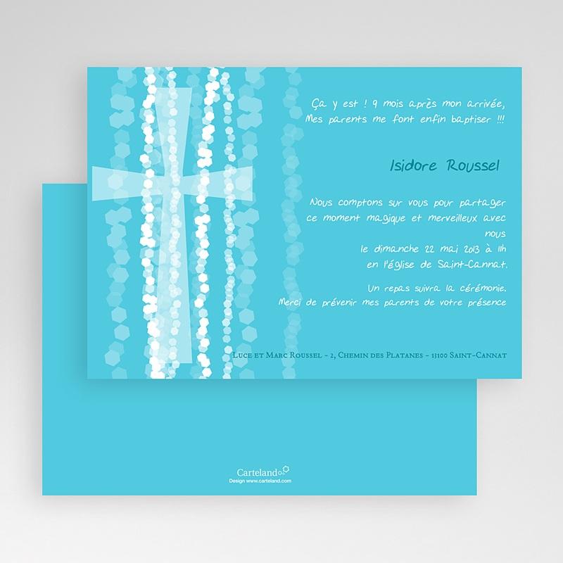 Faire-Part Baptême Garçon Croix Contemporaine Bleue gratuit