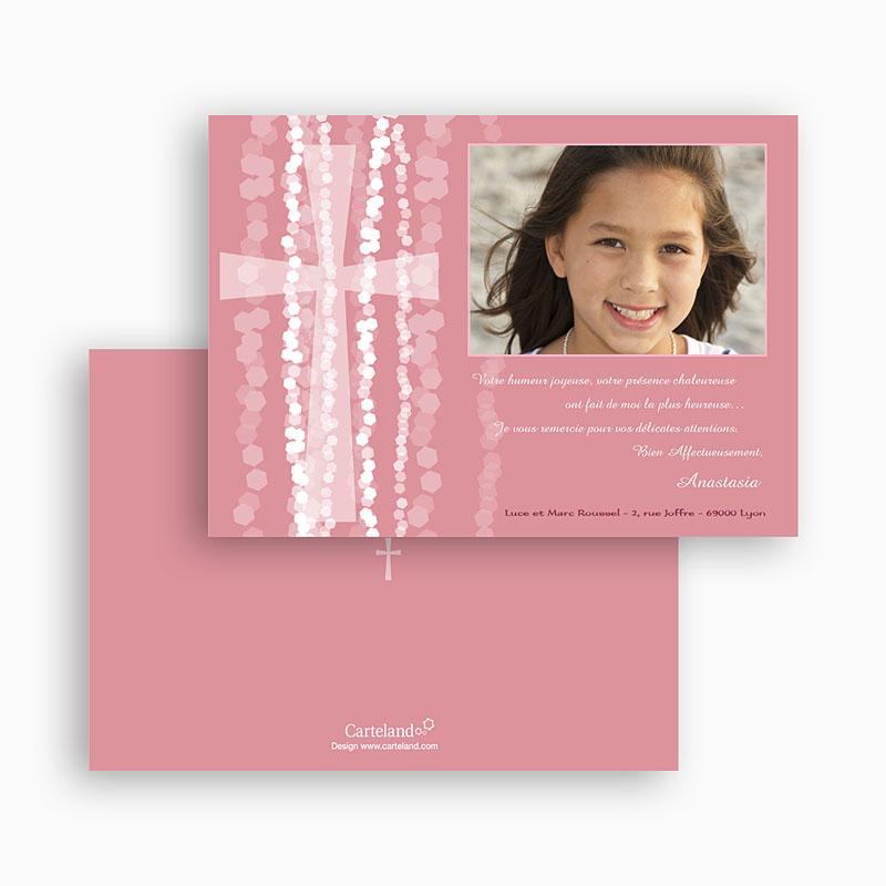 Carte Remerciement Communion Fille Croix Contemporaine Rose gratuit