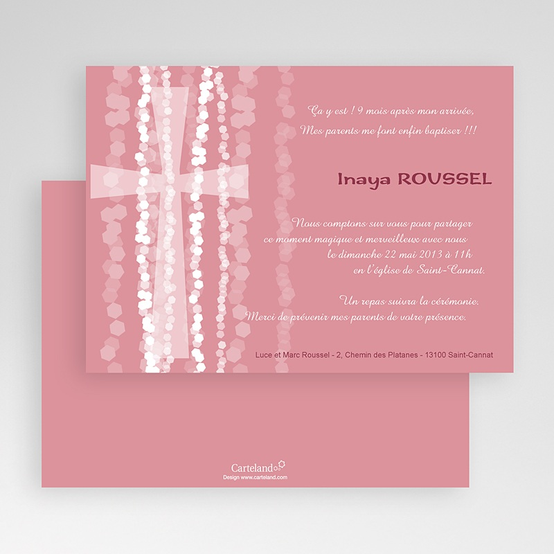 Faire-Part Baptême Fille Croix Contemporaine Rose gratuit
