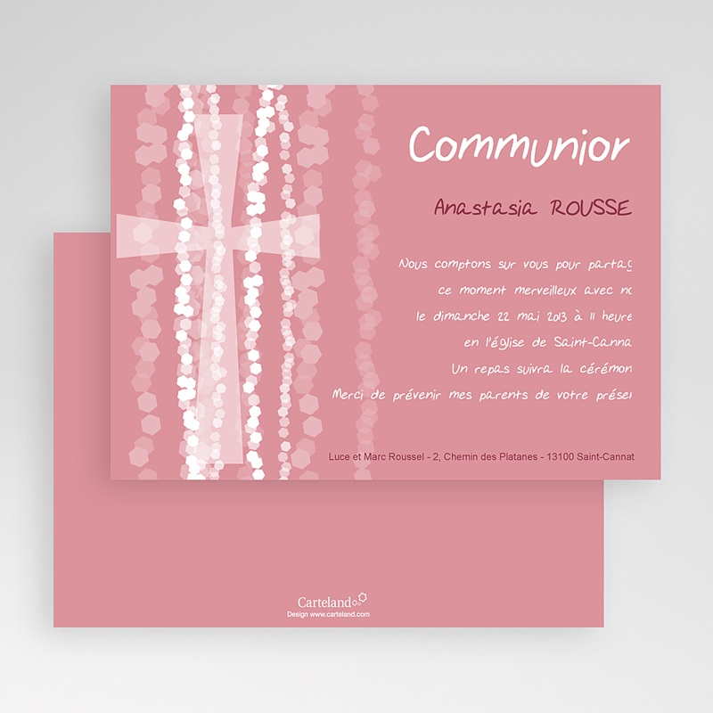 Faire-part Communion Fille - Croix Contemporaine Rose 19584 thumb