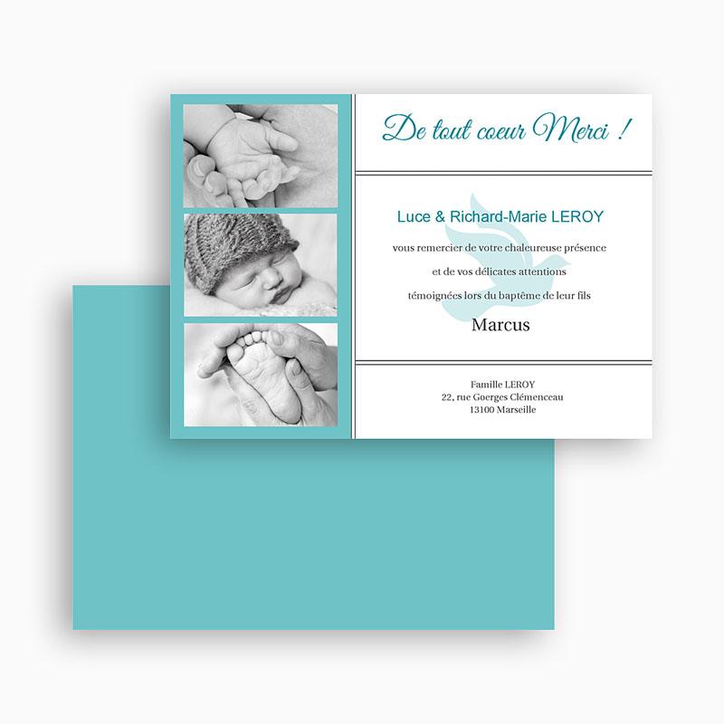 Carte Remerciement Baptême Garçon Triptyque bleu gratuit