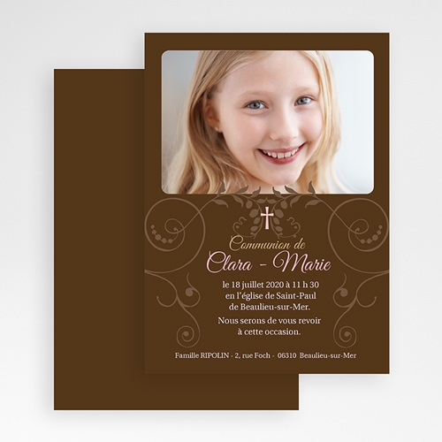 Faire-Part Communion Fille Baptismal Marron gratuit