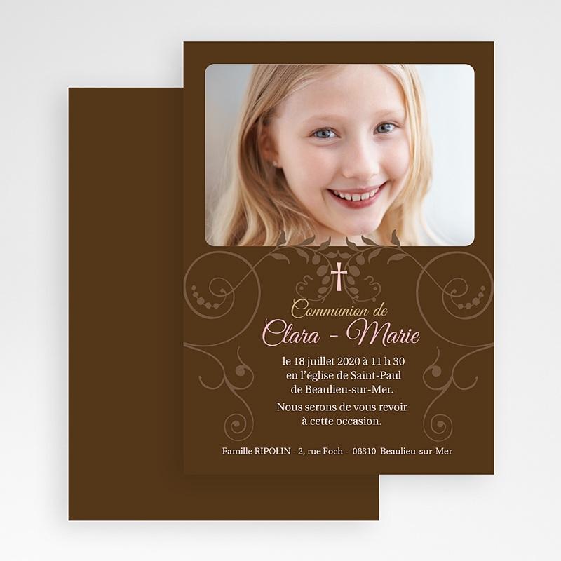 Faire-part communion fille Baptismal Marron gratuit