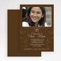 Carte Invitation Confirmation Baptismal Marron gratuit