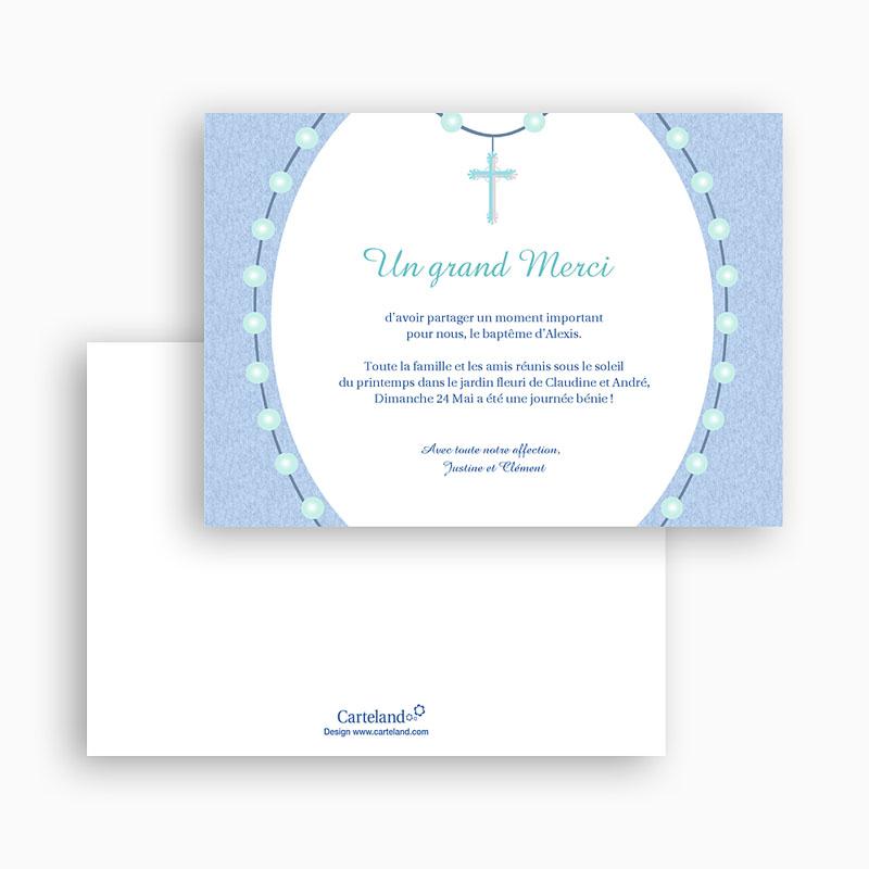 Carte Remerciement Baptême Garçon Perles Bleues gratuit