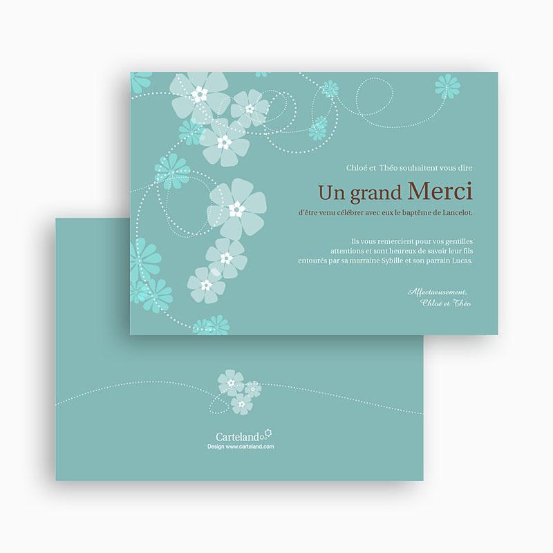Carte remerciement baptême garçon Bleu - Motif Fleur gratuit