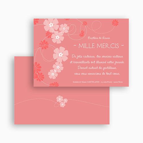Carte remerciement baptême fille Chapelet de fleurs gratuit