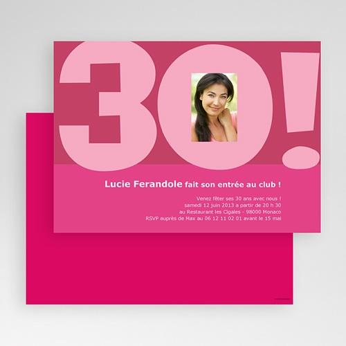 Carte Invitation Anniversaire Adulte 30 ans femme gratuit