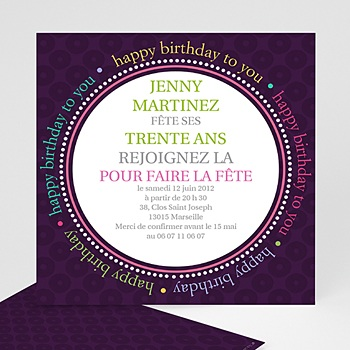 Carte invitation anniversaire adulte Round the Clock