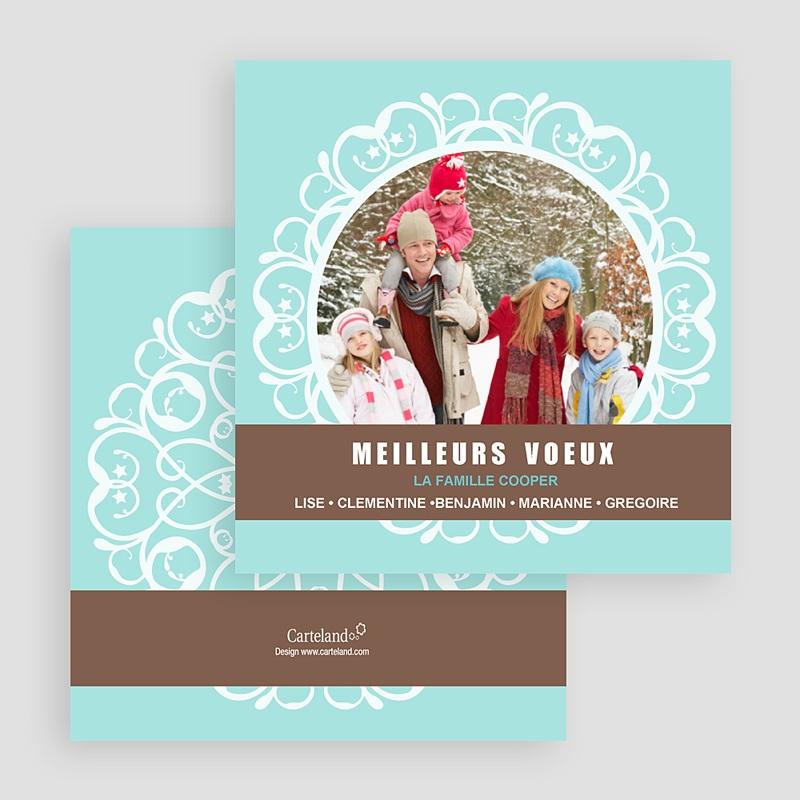 Carte de Voeux Meilleurs Voeux Mandala - Blanc-Bleu gratuit
