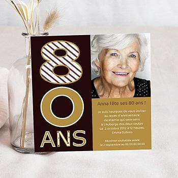 Carte invitation anniversaire adulte 80 ans - Or et Chocolat