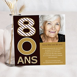 Invitations Anniversaire adulte 80 ans - Or et Chocolat