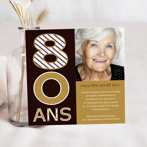 Carte Invitation Anniversaire Adulte 80 ans - Or et Chocolat