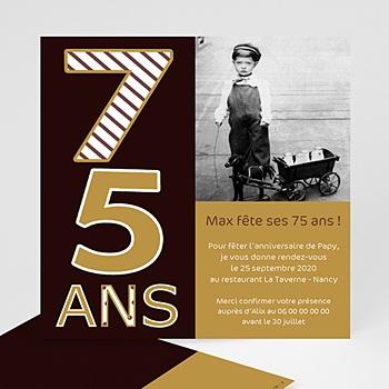 Invitation Anniversaire Adulte - 75 ans - Or et Chocolat - 3