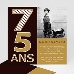 Carte invitation anniversaire adulte 75 ans - Or et Chocolat