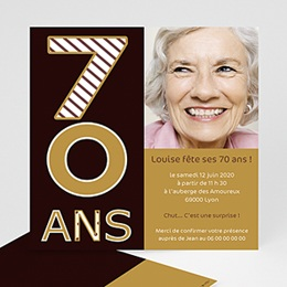 Invitations Anniversaire adulte 70 ans - Or et Chocolat