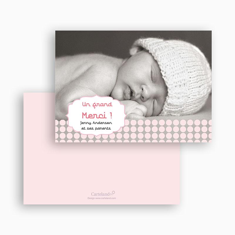 Carte remerciement naissance fille Douceur Rosée gratuit