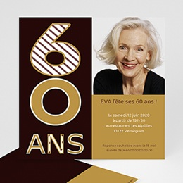 Carte invitation anniversaire adulte 60 ans, Or et chocolat