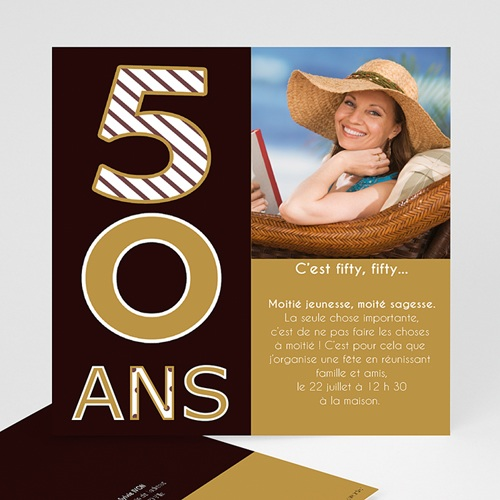 Carte Invitation Anniversaire Adulte 50 ans - Or et Chocolat