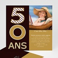 Carte Invitation Anniversaire Adulte 50 ans - Or et Chocolat