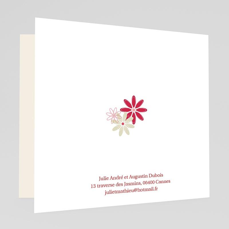 Faire-Part Mariage Rouge et Blanc Fleurs des Champs gratuit