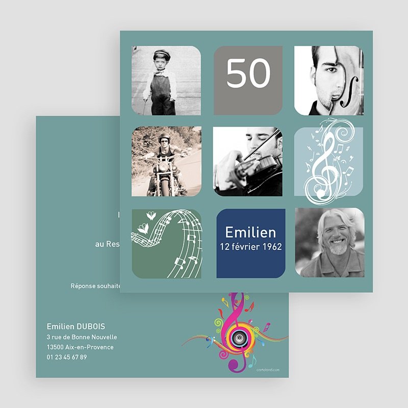 Invitation Anniversaire Adulte - Musique ! Multi-photos 19966 thumb