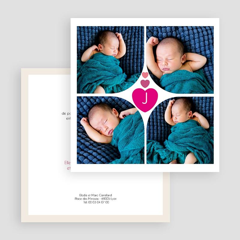 Faire-Part Naissance Fille  Coeur Fushia gratuit