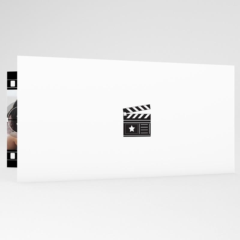 Faire-part mariage noir et blanc Modèle Cinéma gratuit