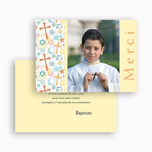 Carte Remerciement Communion Garçon Joie colorée gratuit