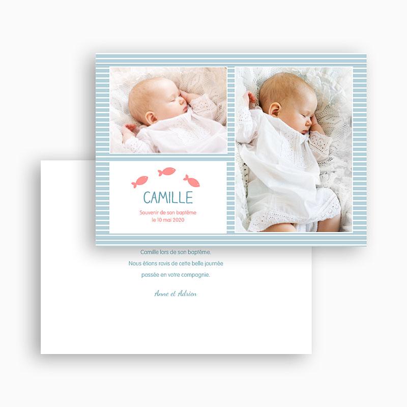 Carte Remerciement Baptême Garçon Mille Marin gratuit