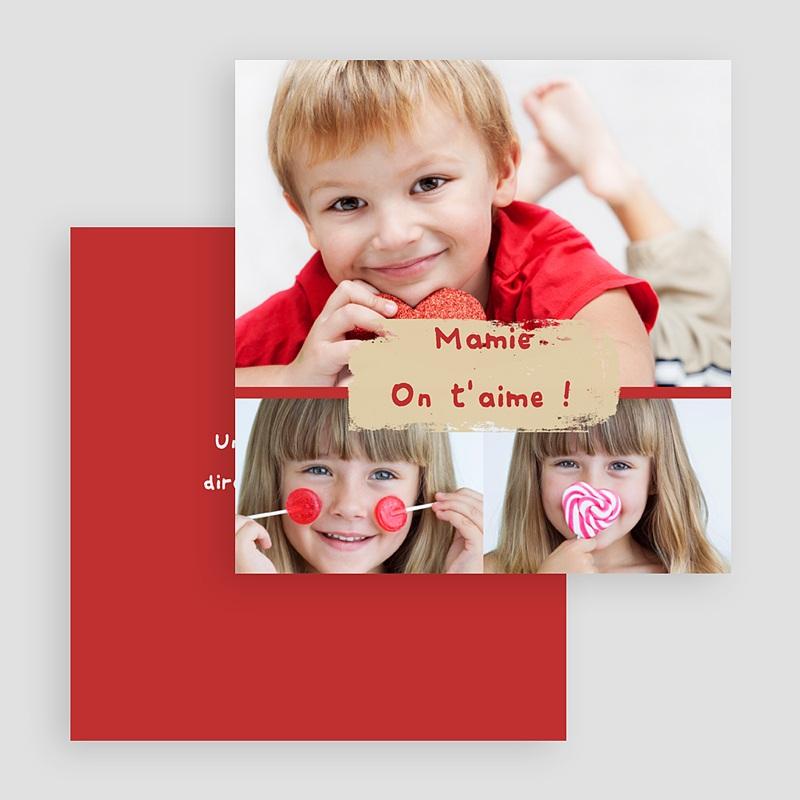 Carte personnalisée 3 photos et plus Trio de photos - Bordure rouge gratuit