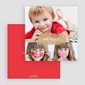 Carte personnalisée 3 photos et plus 3 photos - 1 Bordure rouge gratuit