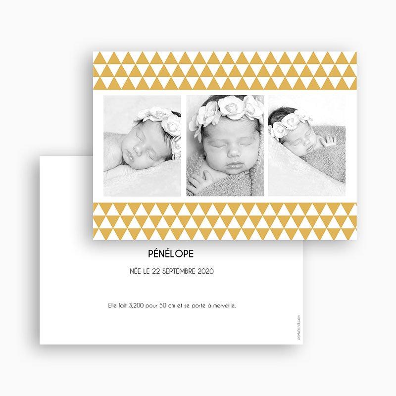 Faire-Part Naissance Fille Multiphotos 3 - Rétro gratuit