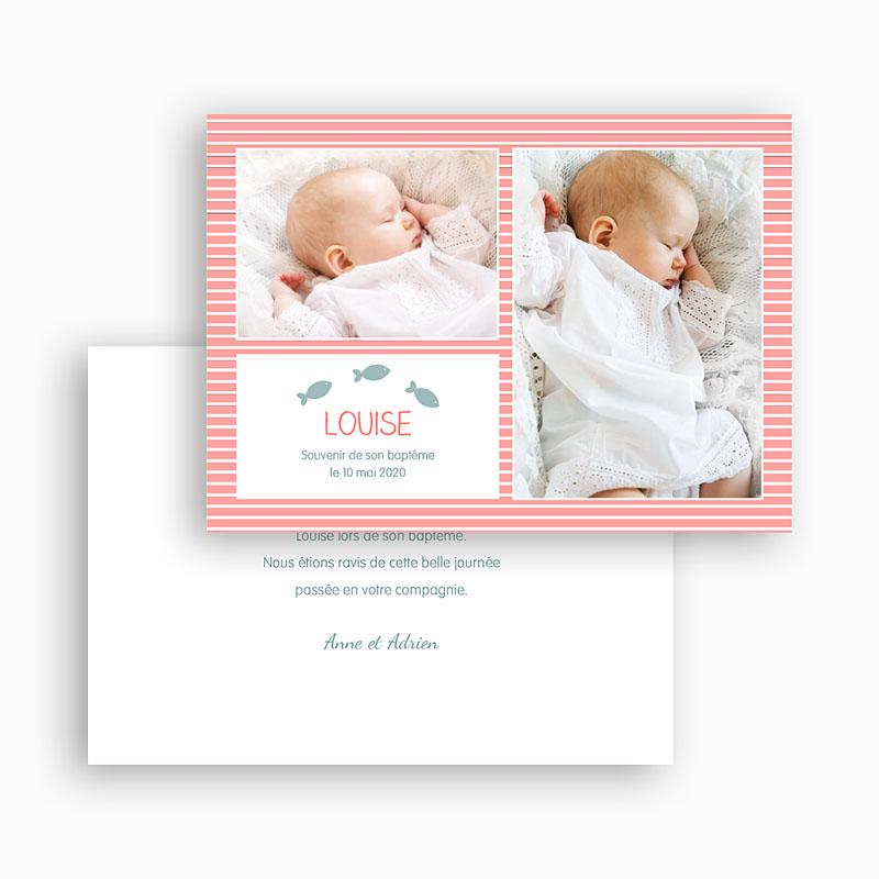 Carte Remerciement Baptême Fille Marinière rose rayée gratuit