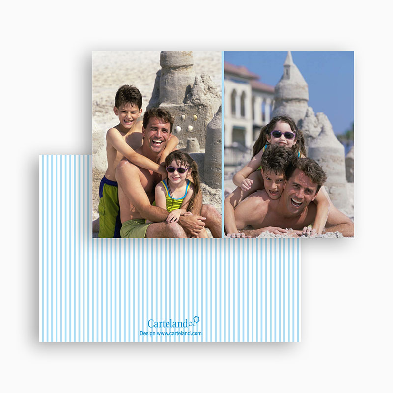 Cartes Multi-Photos 2 photos - Double Cadre - liseré bleu 20297 thumb