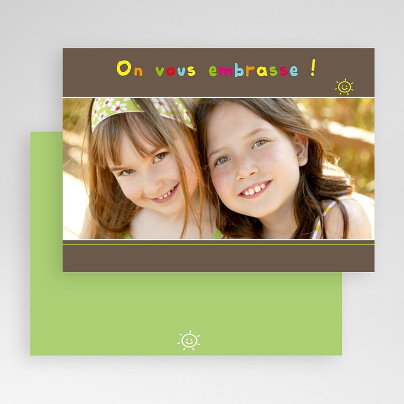 Carte personnalisée 1 photo Smiles - bandeau marron gratuit