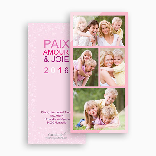 Cartes Multi-photos 3 & + - 4 photos - Voeux poudrés 20389 thumb