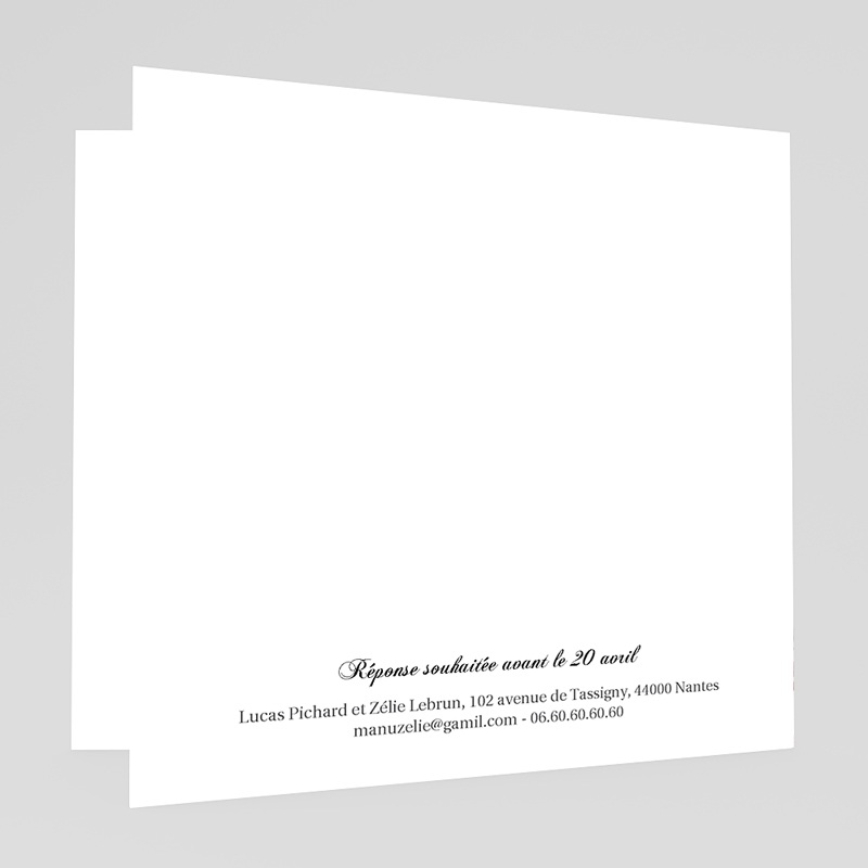 Faire-Part Mariage sans photo - Aquarelle Zelie 20391 thumb