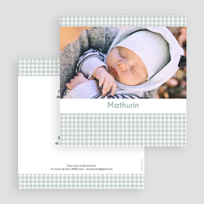 Faire-part naissance classique Tweed Boy gratuit