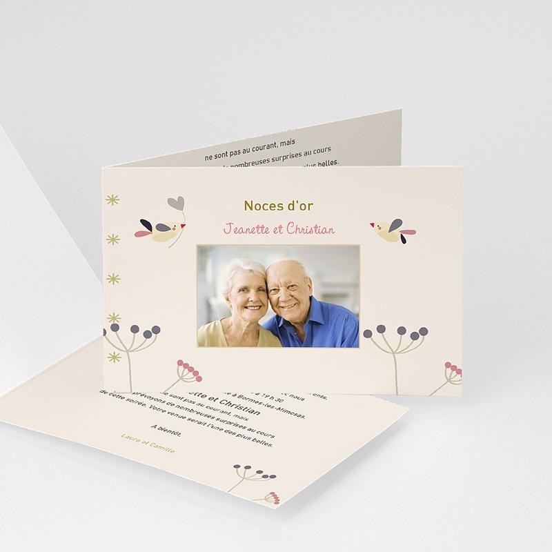 Carte invitation anniversaire mariage L'envolée amoureuse
