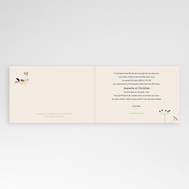 Carte invitation anniversaire mariage L'envolée amoureuse pas cher