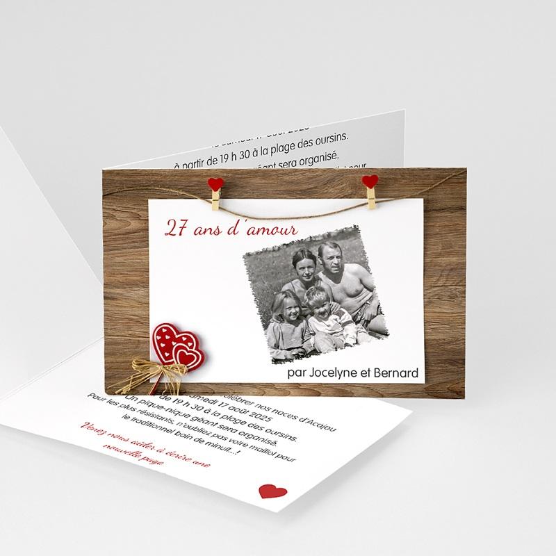 Carte Invitation Anniversaire Mariage Bois, Acajou, Merisier
